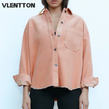 2020 Spring Autumn Women Oversize Vintage Corduroy Jackets Coats Solid Button Casual Loose Outerwear Tops Female Chaqueta Mujer button through solid outerwear