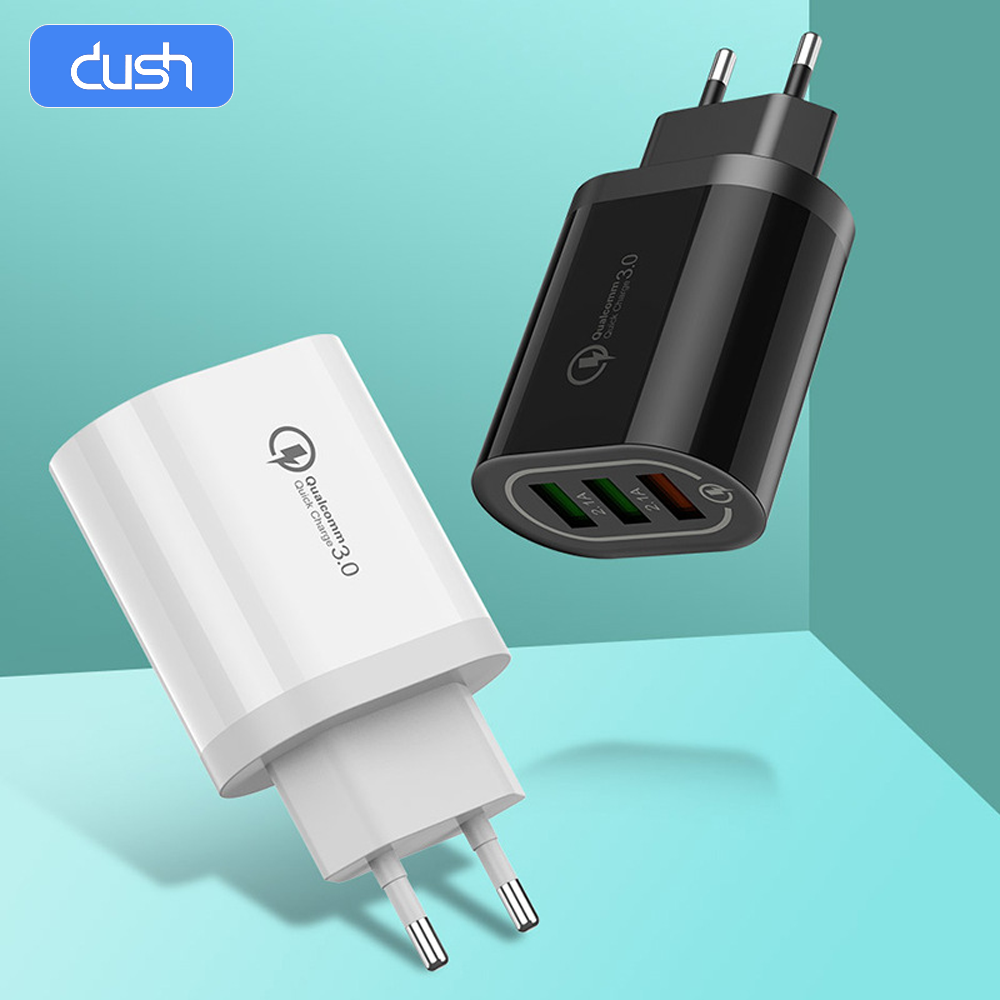 DUSH chargeur de téléphone rapide ue US 3.0 chargeur rapide USB portable chargeur de téléphone portable 3 USB pour iPhone Samsung Huawei