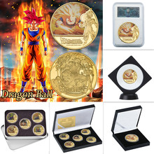 Wr Dragon Ball Z Goku Vergulde Munten Collectibles Met Coin Houder Japanse Uitdaging Munten Set Originele Gift Dropshipping(China)