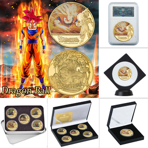 WR Dragon Ball Z Goku Gold Plated Coins Collectibles with Coin Holder Japanese Challenge Coins Set Original Gift Dropshipping(China)