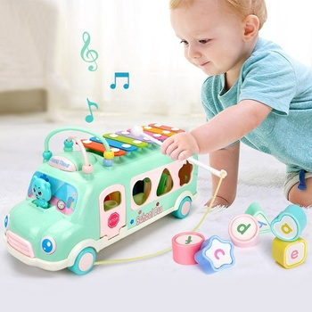 Knocking Piano Bus Multi-Functional Shape Match Musical Instrument Noise Maker Toys for Children Xylophone Toys for Kids