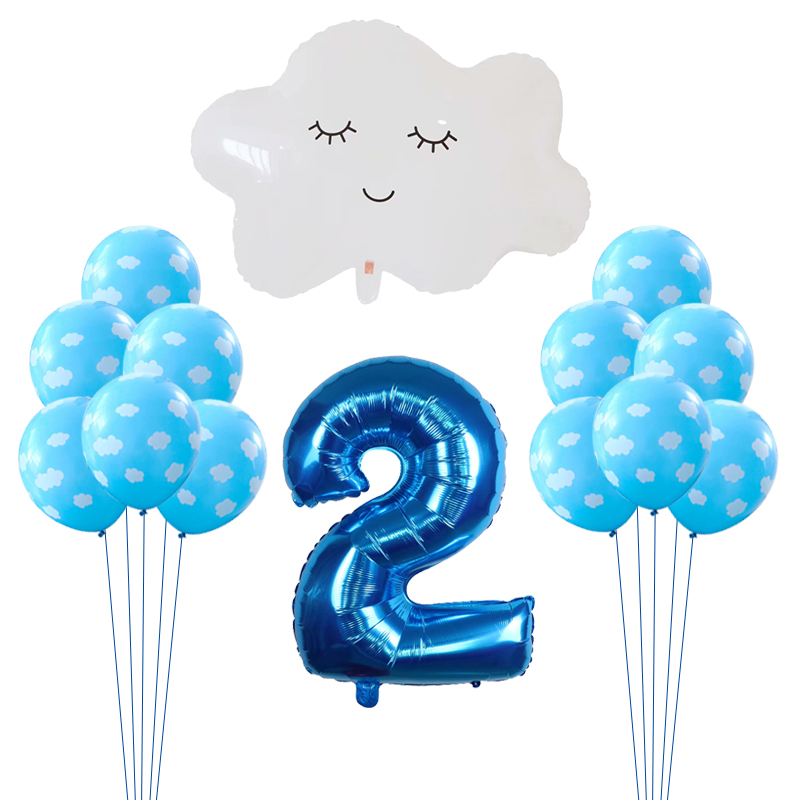 14pcs/lot Airplane Balloons Aviator Birthday Theme Party Supply Cloud Latex Air Globos 30 Number Foil Ballons Baby Shower Decor image
