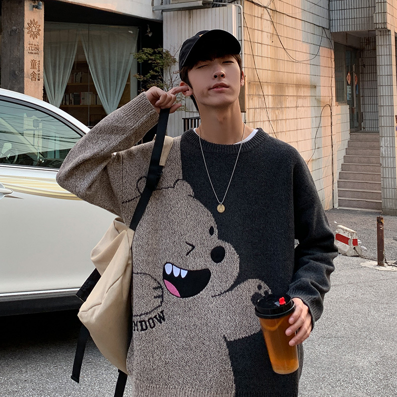 ZAZOMDE Jumper Sweater Men Winter Warm Stitch Pullover Harajuku Anime Sweat Tops Christmas 2020 Aesthetic Gothic Clothes Hipster