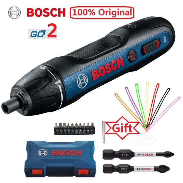 Bosch Mini juego de destornillador eléctrico Go 2, destornillador automático recargable de 3,6 V, taladro manual, brocas para destornillador
