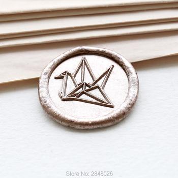 Papierowy żuraw pieczęć pieczęć japoński pieczęć pieczęć zestaw pieczęć woskowa pieczęcie do zaproszeń ślubnych pakowanie prezentów etykieta party tanie i dobre opinie qubiclife Ślub Metal wax stamp