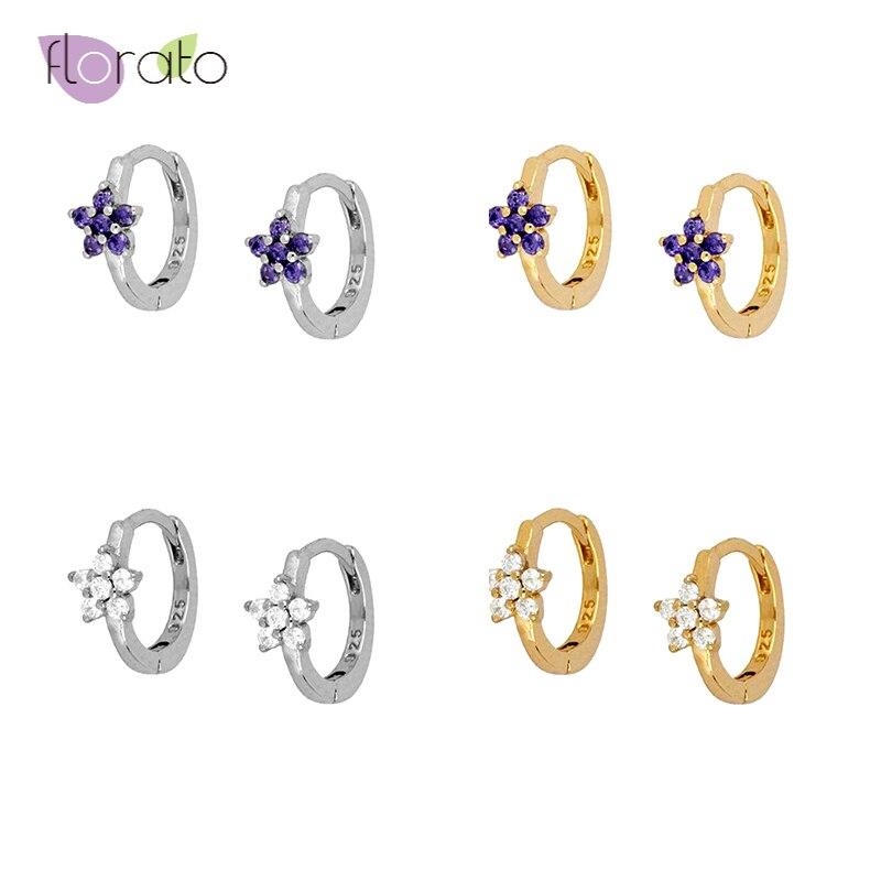 Минималистский Фиолетовый/Белый Циркон 925 стерлингового серебра серьги-кольца для женщин простой изящный Инс маленькие круглые золотые се...