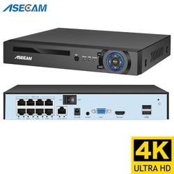 4k Ultra HD POE NVR видеорегистратор Onvif H.265 48V CCTV система P2P сетевая 8мп ип камера видеонаблюдения