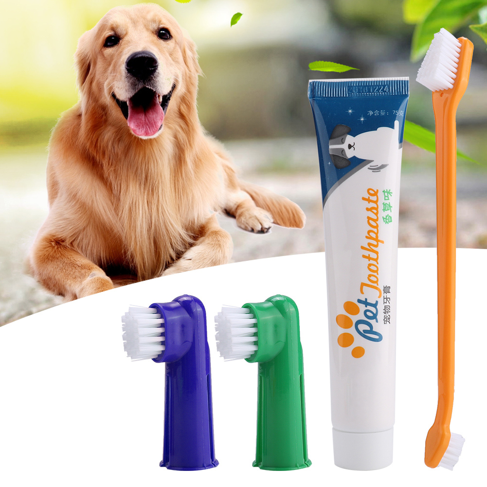 4pcs/Set Pet Dog Cats Dental Calculus Halitosis Removal Toothpaste Toothbrush Pet Oral Care Teeth Cleaning Products image
