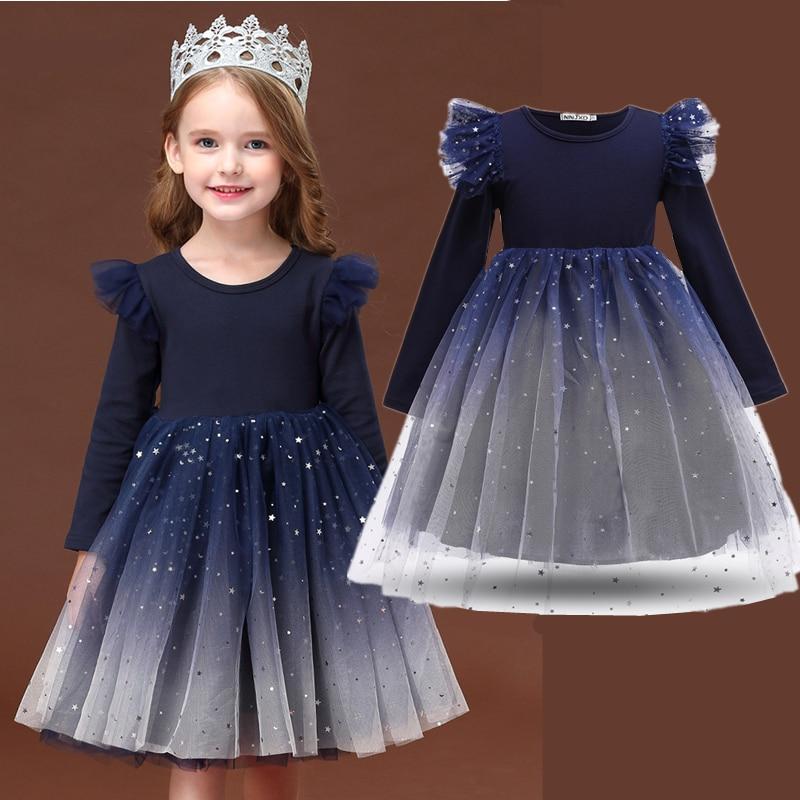 Crianças vestidos para meninas outono vestidos de inverno vermelho vestido de natal elegante vestido para meninas bling star birthday party vestido