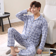 2020 New Men's Pajamas Set Autumn Winter Warm Cotton Male Sets spring Long Sleeve Sleepwear Top +Pant Leisure clothing