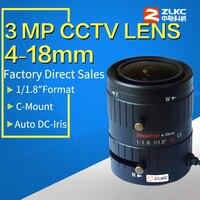 """Güvenlik ve Koruma'ten CCTV Parçaları'de 3 megapiksel HD CCTV lens 4 18mm  7/1/1 8 """"manuel değişken odaklı otomatik Iris Lens  lens için CCTV gözetim kameraları C dağı"""