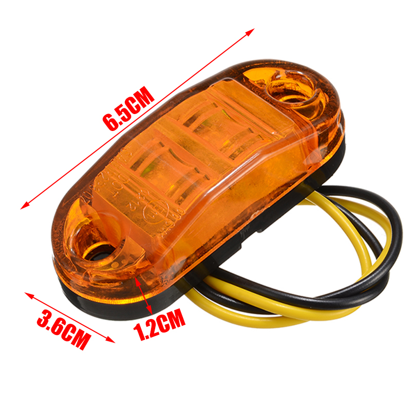 Image 3 - New 10pcs 10V 30V 2LED Car Side Marker Tail Light Amber Trailer Truck Lamp Car Bus Truck External Lights Waterproof-in Truck Light System from Automobiles & Motorcycles