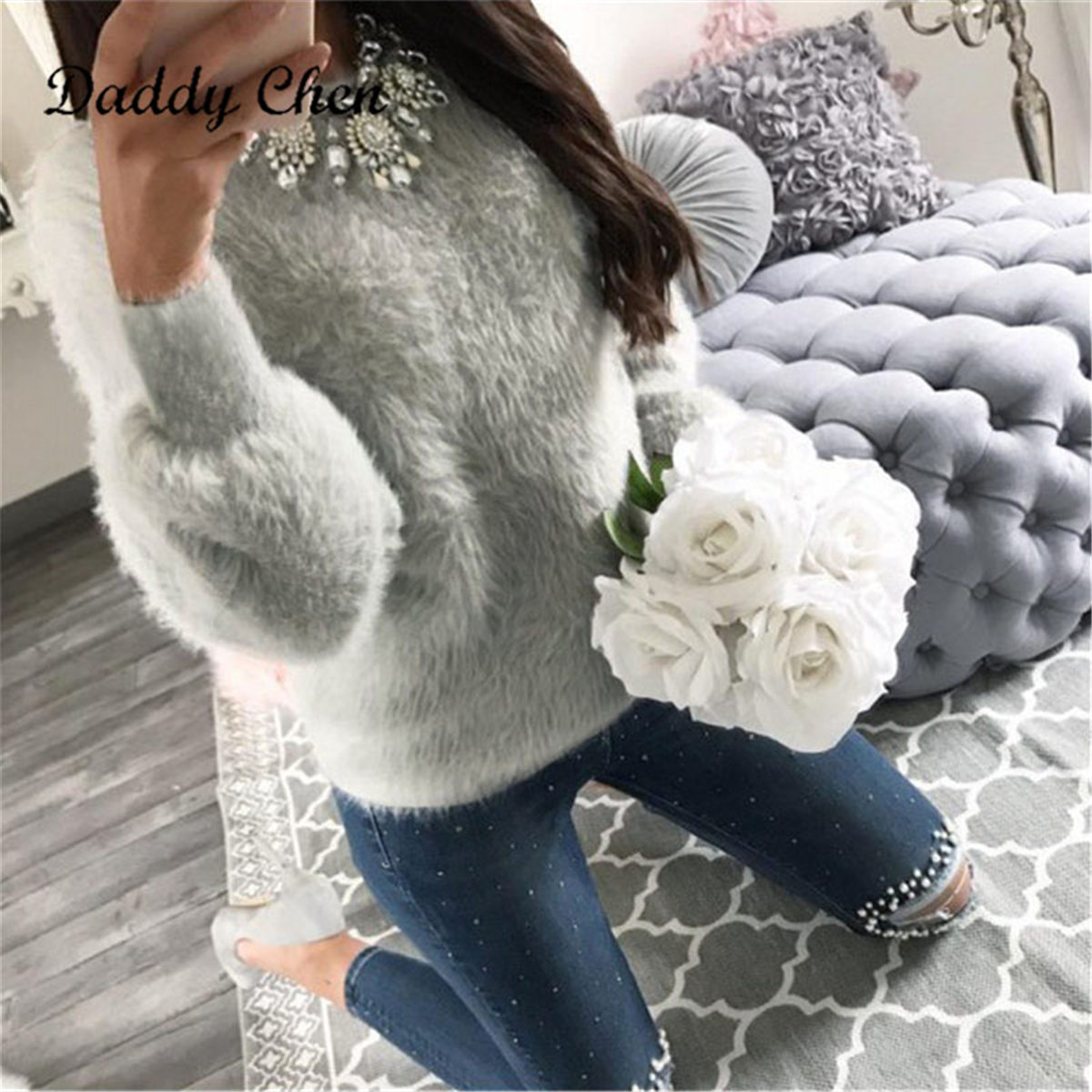 2019 Women Winter Knitting Christmas Sweaters Loose Casual Pull Femme Solid Pullover Streetwear Faux Fur Female Knitted Sweater