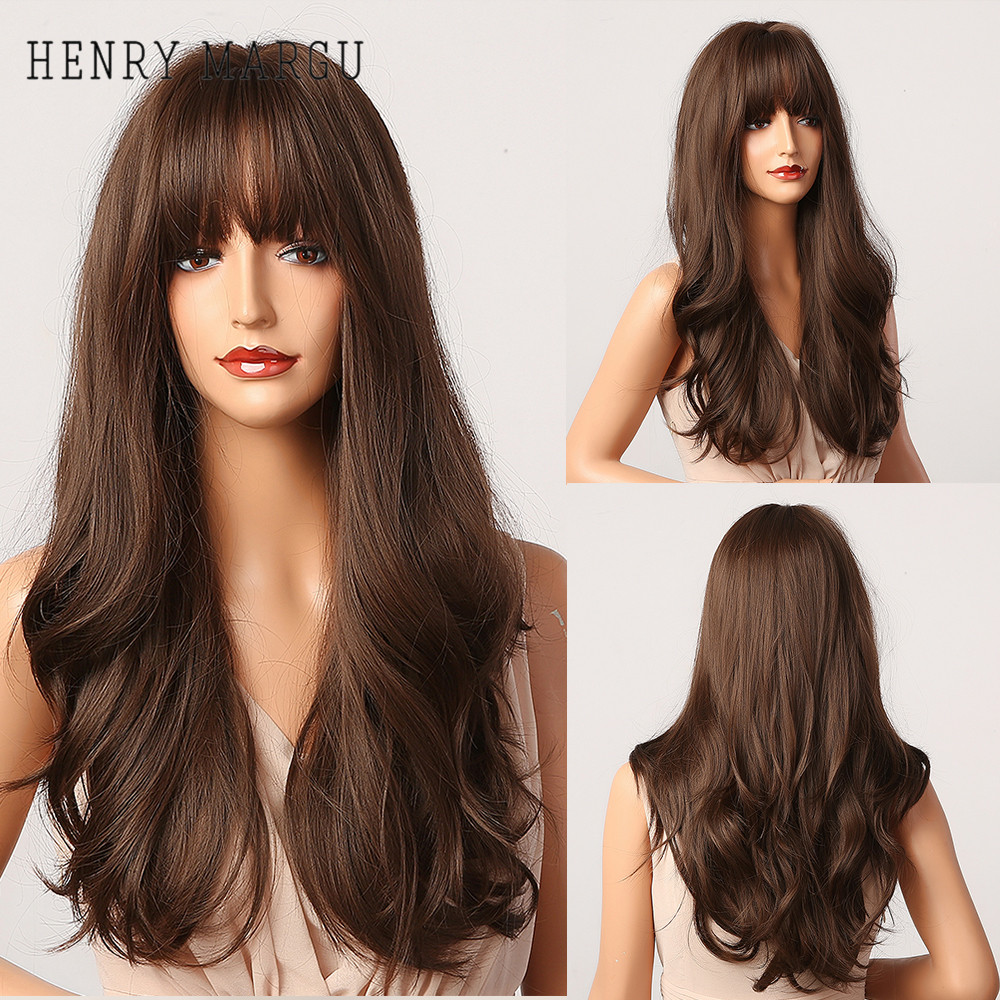 HENRY MARGU Long Wavy Dark Brown Synthetic Wigs with Bangs Heat Resistant Hair Cosplay Party Lolita Daily Wig for Black Women