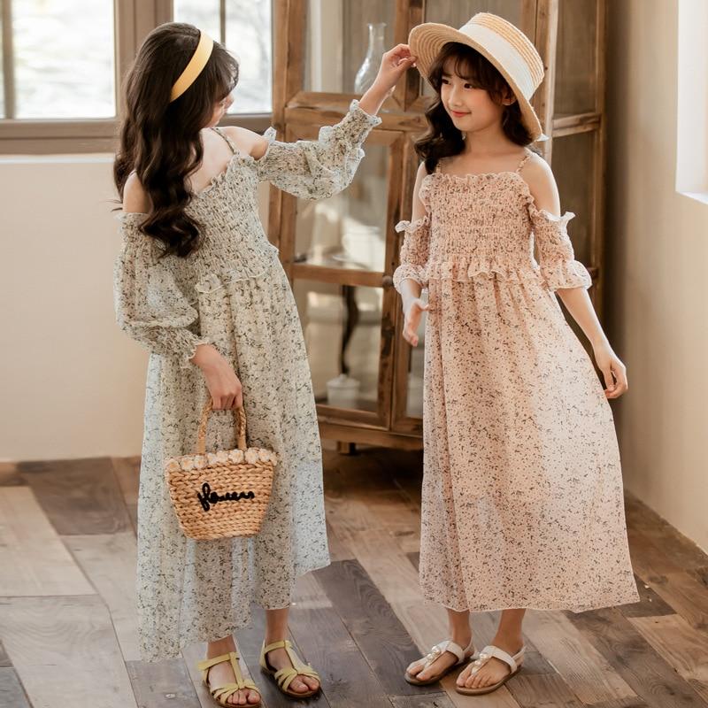 2020 Summer Girl Maxi Dress Flowers Children Chiffon Dresses Off-Shoulder Beach Kids Dress for Girls Baby Princess Dress, #8381