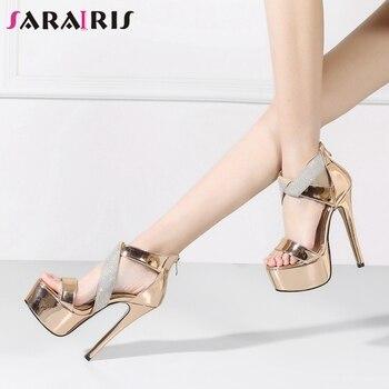 SARAIRIS 2020 Brand Design Patent Leather Wedding Sandals Classic Knot Platform Sandals Women High Quality Party Shoes Woman