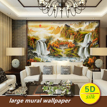 Chinese nature landscape mural waterfall water wealth living room sofa TV backwall clothCustom 5D silk large mural wallpaper 3d free shipping waterfall large mural wallpaper tv sofa backdrop bedroom living room landscape wallpaper