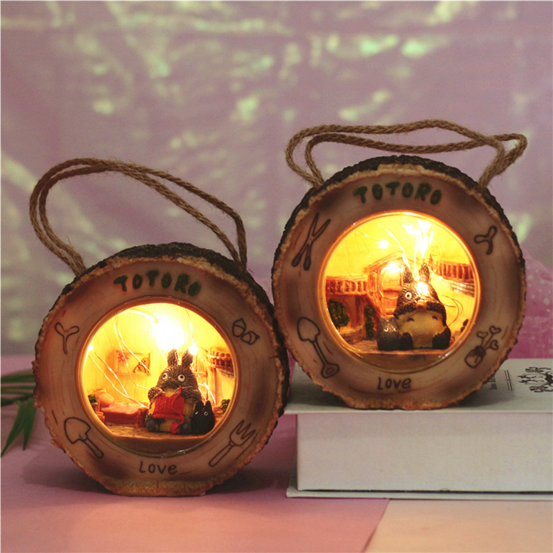 Mini Cartoon Totoro Starry Night Light Resin Knitting Sweater Novetly Lighting Totoro Light Baby Bedside Lamps Home Decoration