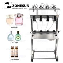 ZONESUN-máquina de llenado de botellas, 4 cabezales al vacío, líquido, Perfume, leche, agua, lavado de ojos, cosméticos, bebidas, neumático