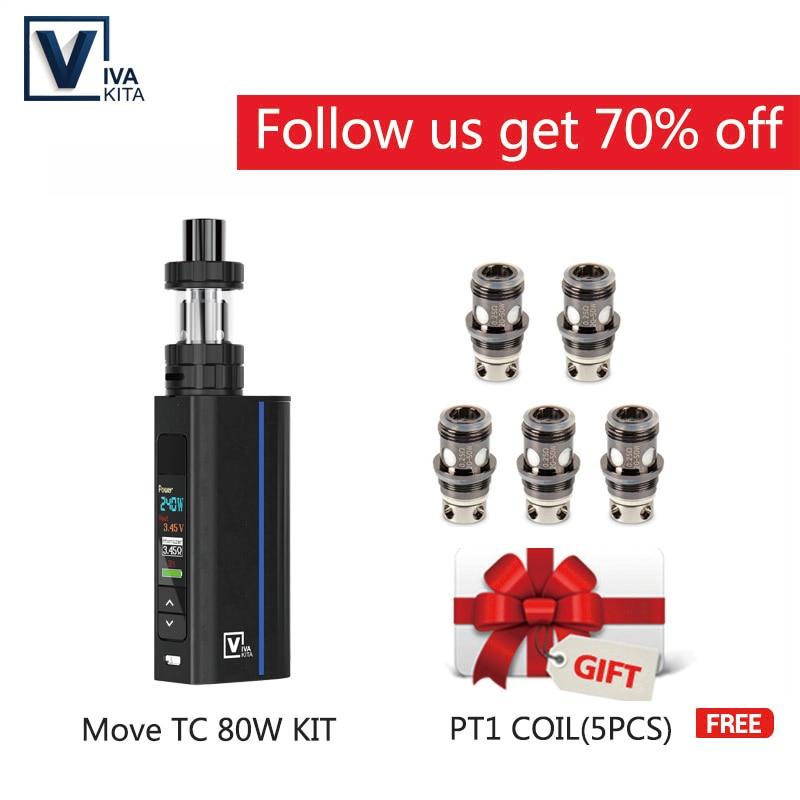 [Free Coils]Vape Move Grand TC 80W Kit 2.0ml Atomizer Vapor External 18650 Battery Vape Mod 510 Thread