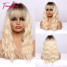 TINY LANA Medium Length Ombre Blonde Golden Synthetic Wigs Natural Hair  with Bangs Wavy Heat Resistant Fibre Cosplay Women wigs
