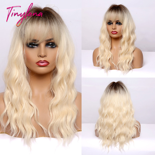 TINY LANA MediumความยาวOmbreสีบลอนด์Golden Synthetic Wigsธรรมชาติผมบางหยักความร้อนทนคอสเพลย์ผู้หญิงWigs