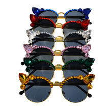 Baroque Crystal Sunglasses with Rhinestones Cats Eye Cute Pink Red Blue Yellow Green Rave Festival Vintage Woman Fashion 2019
