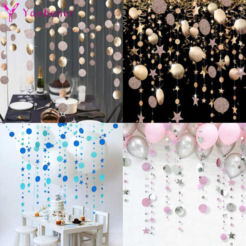 First Happy Birthday Decoration Star Paper Garland Banner 1st Birthday Party Decor Kids Baby Boy Girl One Year Bunting Supplies Banners Streamers Confetti Aliexpress