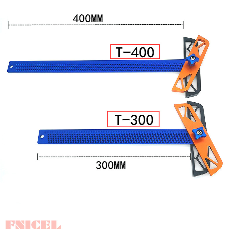 Woodworking Scribe Angle Ruler T300/T400 Aluminum T-type Ruler Hole Scribing Gauge Crossed Feet Crossed-out Measuring Tool