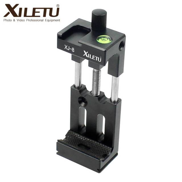 XILETU XJ 8 חצובה ראש סוגר טלפון נייד בעל קליפ עבור טלפון פנס מיקרופון עם פלס וקר נעל הר