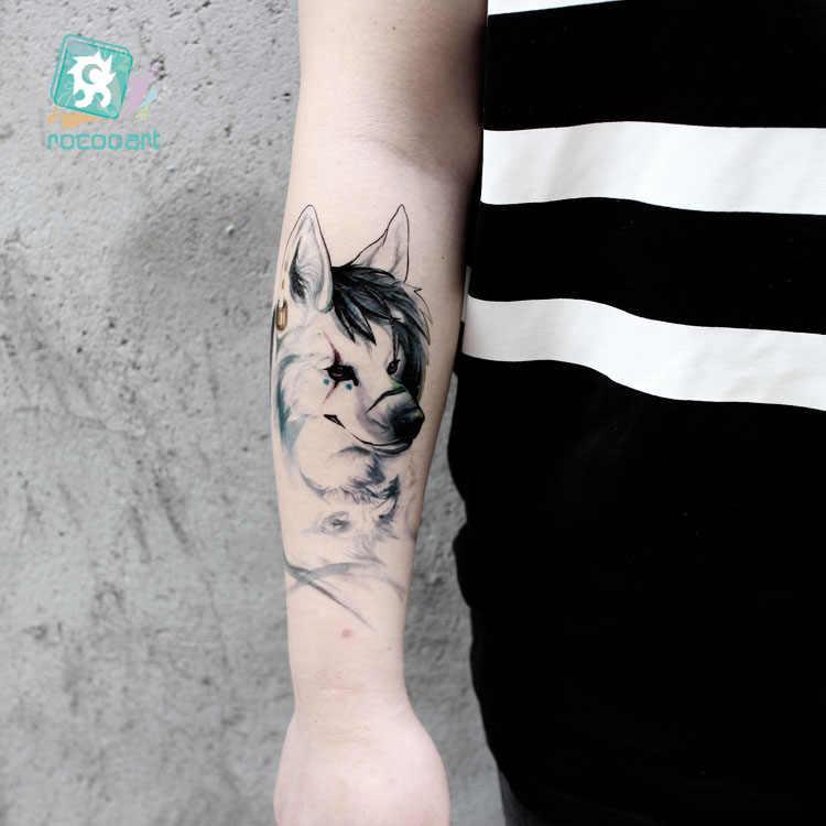Rocooart 新狼タトゥー水彩フェイクタトゥー男性 Taty フラッシュ Tatouage 一時的なタトゥーのステッカー Tatuagem