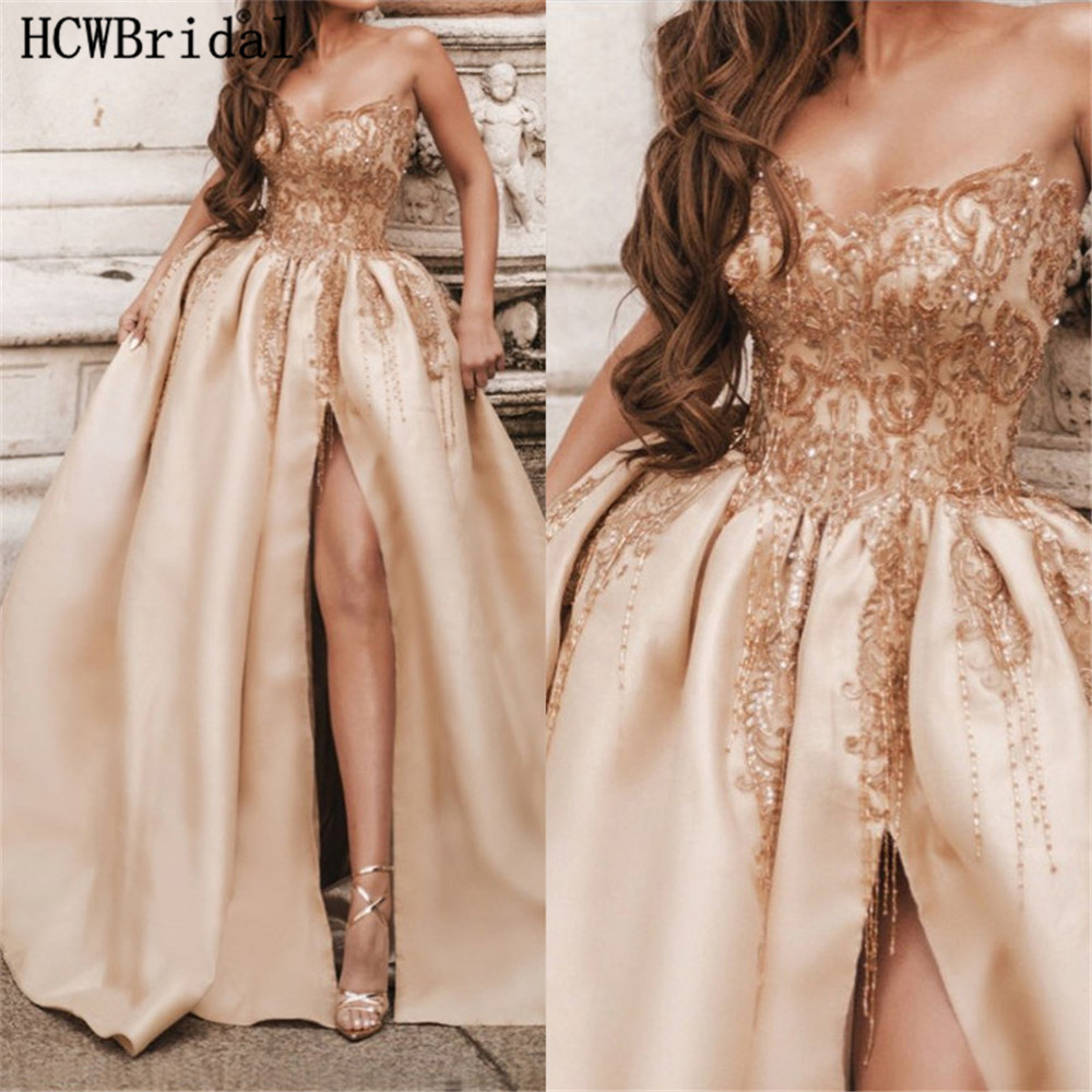 Luxury Champagne Puffy   Evening     Dress   Exquisite Beading Lace Side Slit Sweetheart Long Special Occasion Women   Dresses   Customize