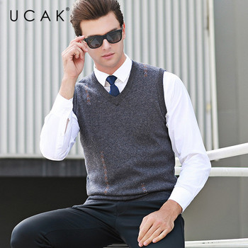 UCAK Brand Pure Merino Wool Sweater Vest 2019 New Arrival Casual Autumn Winter Pull Homme Streetwear Sweaters Clothes U3107