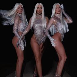 Sparkly Silber Strass Transparent Langarm Body Bühne Tanz Geburtstag Feiern Outfit Frauen Sänger Outfit