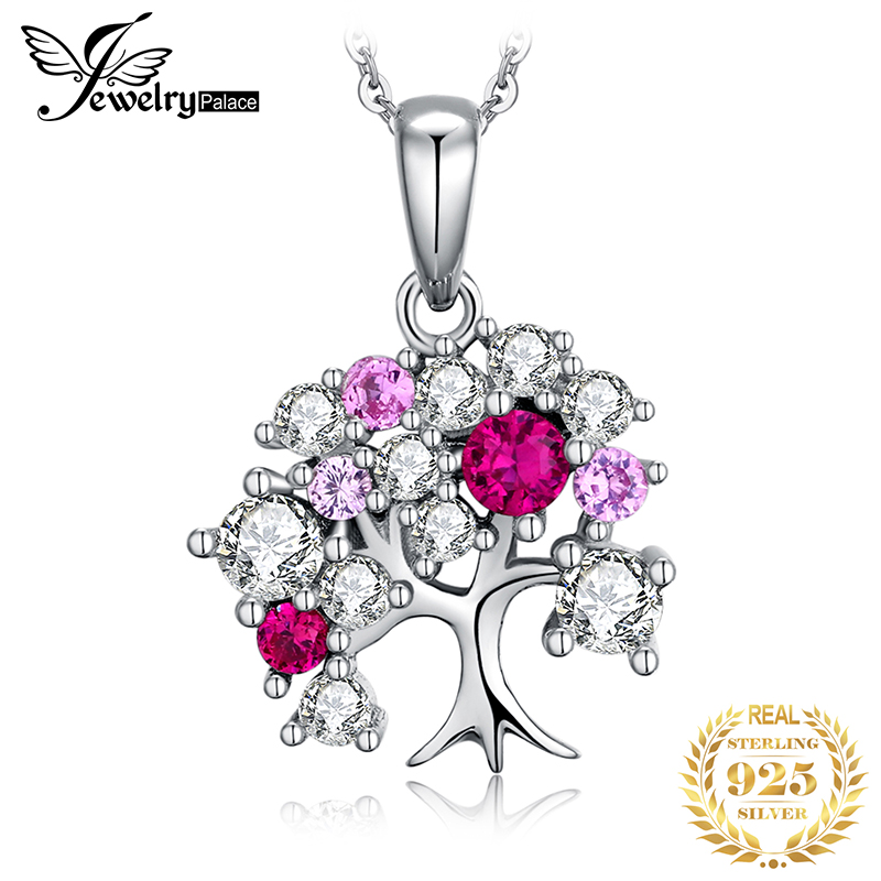 JPalace Life Tree Created Ruby Pendant Necklace 925 Sterling Silver Gemstones Choker Statement Women Without Chain