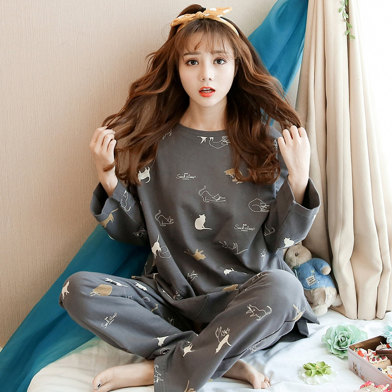 Women Autumn Casual Sleepwear Female Long-sleeved Tops + Sleep Pants Pajamas Set Cartoon Printed Pajamas Set