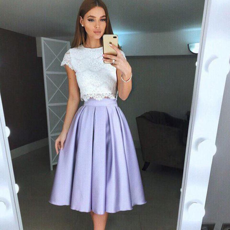 Short Prom Dresses Graduation Dress White Lace Top Satin Skirt Tea Length A-line Party Dress Short Gown Vestidos De Gala