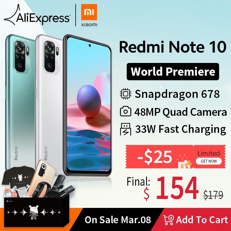 [Światowa premiera W magazynie] Wersja globalna Xiaomi Redmi Note 10 Smartphone Snapdragon 678 AMOLED Wyświetlacz 48MP Poczwórny aparat 33W Telefony Komórkowe  - AliExpress