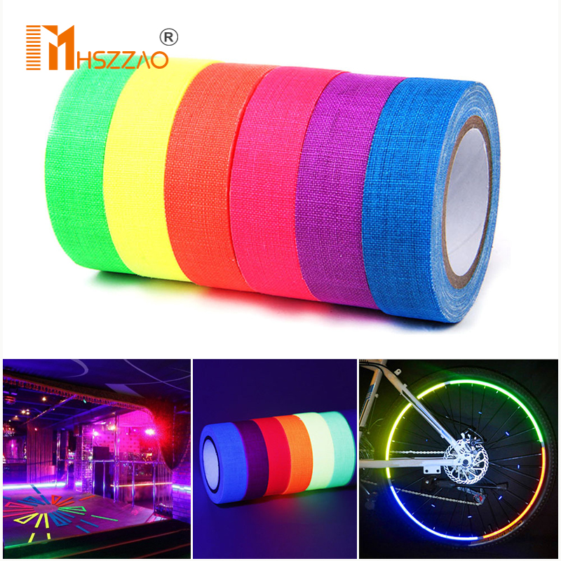 DIY Fluorescent UV Cotton Tape Matt Night Self Adhesive Glow In The Dark Luminous Tape For Party Floors Stages Whiteboard|Car Stickers|   -