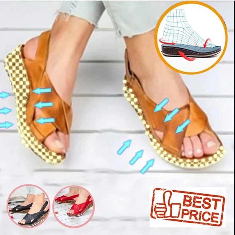 Oeak kadın sandalet yaz 2020 kadın ayakkabısı kadın Peep-toe kama rahat sandalet Slip-on düz sandalet kadın Sandalias 2019