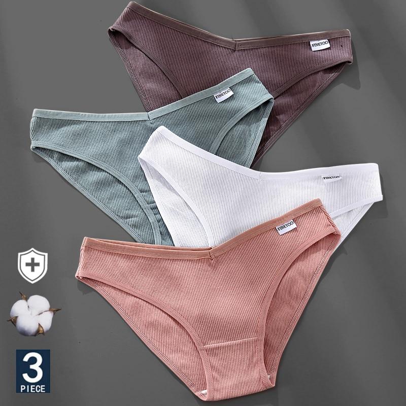 M-4XL Cotton Panties Female Underpants Sexy Panties for Women Briefs Underwear Plus Size Pantys Lingerie 3PCS/Set 6 Solid Color 1