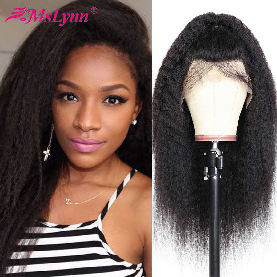 Kinky Straight Wig Lace Front Human Hair Wigs For Black Women Brazilian Kinky Straight Hair Lace Wig With Baby Hair 13x4 Mslynn