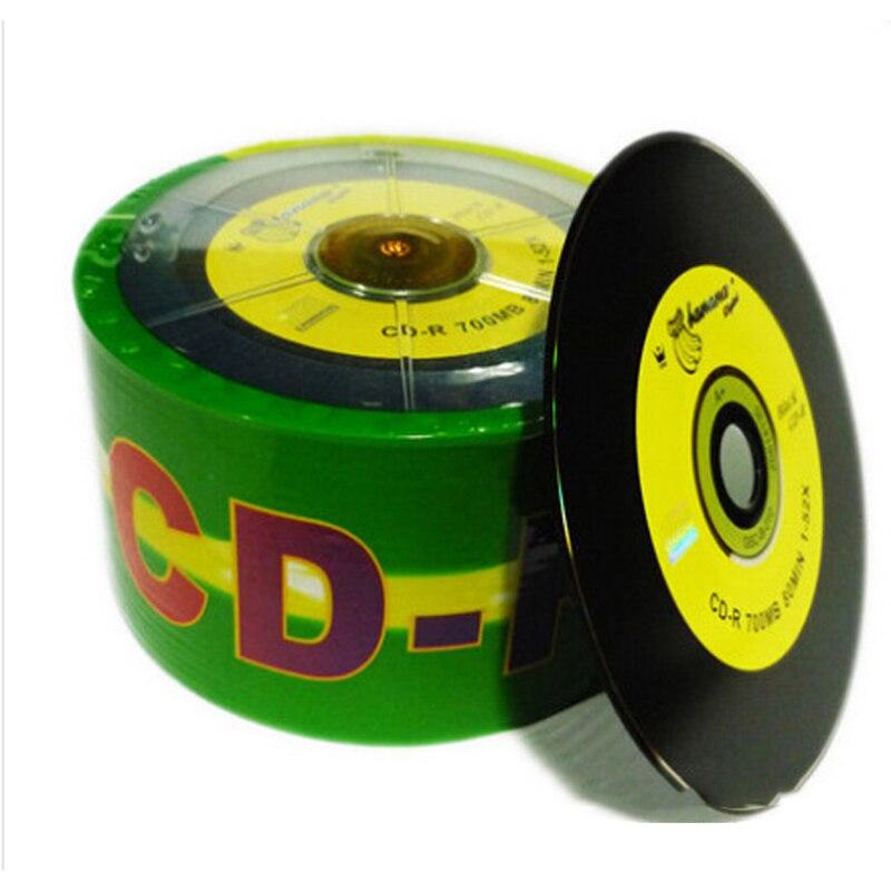 50 pçs/lote CD-R DJ Preto Impresso Drives de CD Em Branco Discos Bluray 700MB 80min 52X Marca Do Eixo Do Disco de Mídia Gravável Write
