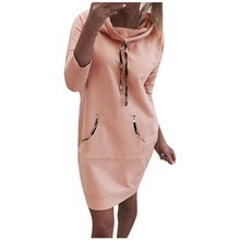 Dress Jumper Long-Sleeve Vintage -Spring Women's for Straight-Wrap Solid-Color Lady