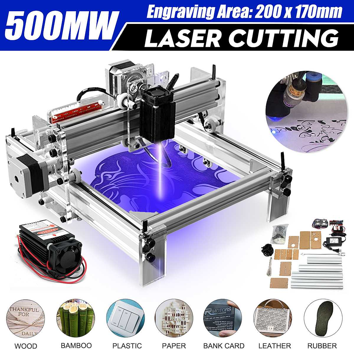 500MW Mini DIY Desktop Blue Laser Cutting Engraving Engraver Machine CNC Wood Router/Printer/Cutter/ Adjust + Laser Goggles