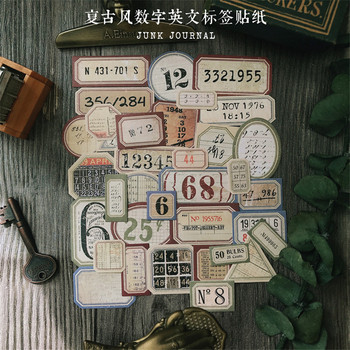 35 Sheets Vintage English Numbers Decorative Stickers Diy Diary Plan Scrapbooking Label Stationery Album  Journal Cute Stickers 50pcs box cute label stickers for diy decoration diary album scrapbooking stationery stickers