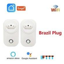 Бразильская умная Wi Fi розетка BR вилка Беспроводная розетка Голосовое управление Мощность монитор Tuya Smart Life приложение для Alexa Google Home IFTTT