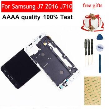Samsung J7 2016 Ekran dokunmatik ekranlı sayısallaştırıcı grup Çerçeve Samsung J710F lcd ekran J710 J710M J710H J710FN Ekran
