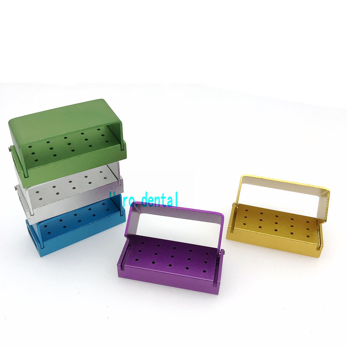 15 Holes Dental Bur Holder Stand Autoclave Disinfection Box Case