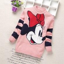 Новинка года; свитера для маленьких девочек; зимняя хлопковая трикотажная одежда с длинными рукавами для девочек; детский осенний свитер с рисунком для девочек